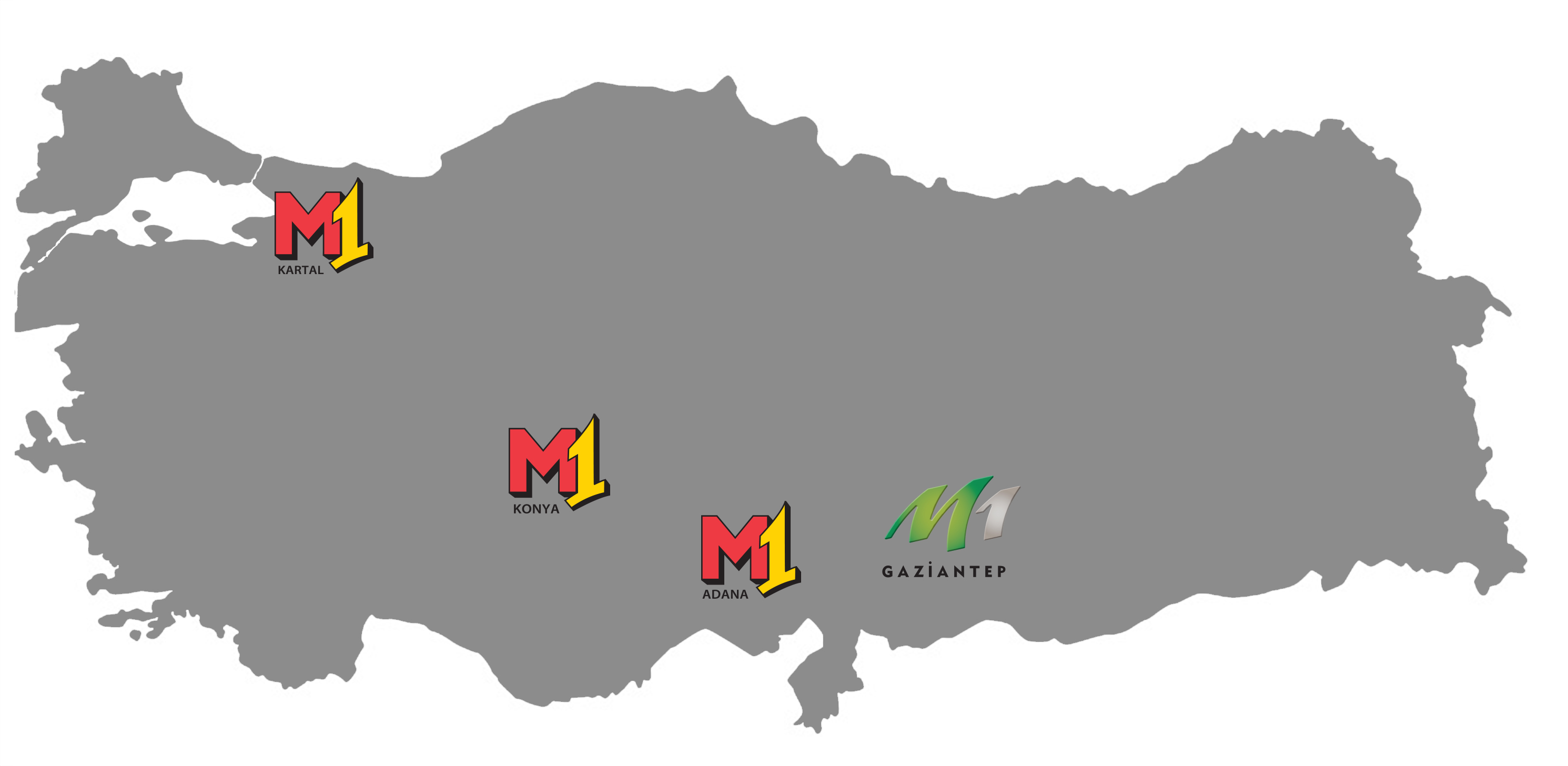M1 locations map Turkey